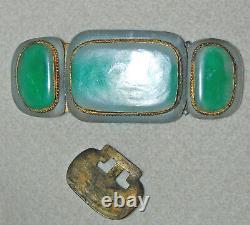 Antique Jade Boucle 19ème Siècle Chinois Grand / Laiton Montage (5e4)