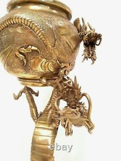 Antique Large 39'' Signé Asiatique Chinois Bronze Dragon Figural Banquet Lampe À Huile