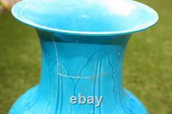 Antique Motif Sculpture En Porcelaine Chinoise Bleu Couleur Verdâtre Grand Vase Résister À