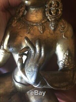 Antique Old Grand Or Peut-être En Laiton Bouddha Magnifique Déesse Asiatique Chine Sceptre
