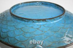 Antique Oriental Chinese Bronze Cloisonne Peinte Grande Assiette