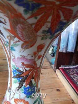 Antique Oriental Vase En Porcelaine Chinoise Extra Large Floral Paradise Birds 76cm