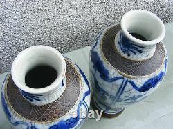 Antique Paire Chinese Crackle Wear Vases Bleu Et Blanc Grand Signé