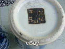 Antique Paire De Crackle Chinois Wear Vases Bleu Et Blanc Grand Signed