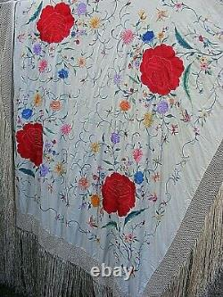 Antique Piano Châle Heavy Brodé Silk Grande Rose Famille Chinoise