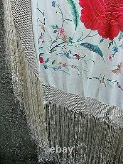 Antique Piano Shawl Heavy Embroidered Silk Grande Famille Chinoise Rose
