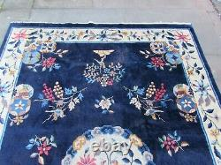 Antique Shabby Chic Worn Hand Made Art Déco Chinese Blue Wool Large Rug 250x177m