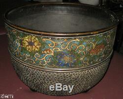 Antique Signé Dynastie Qing Chinois Cloisonné (jingtailan) Grand Pot En Bronze