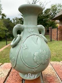 Antique Vase Chinois Grande Baie Vitrée Céladon Sculpté Elephant Poignées Porcelaine