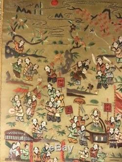 Antique Vieux Grand Panneau Soie Broderie Asiatique Chinois Encadrée Folk Art Figures