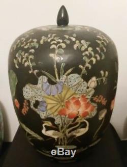 Antique / Vintage 19c Chinese Grand Peint À La Main Tongzhi Mark Ginger Pot Thé Urne