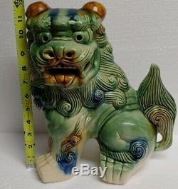 Antique / Vintage Chinois Grande Baie Vitrée En Céramique Foo Dog Fu 12 Pouces