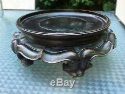 Antique Vintage Grand Vase En Bois Sculpté Bol Chinois Stand
