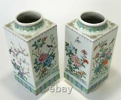 Antique Vintage Peint À La Main 11.25 Chine Export-grands Vases Floraux W Oiseaux