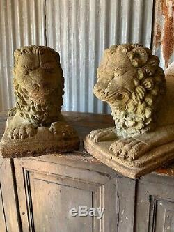 Antique Vintage Stone Garden Paire Lion Statue Grand Foo Fu Dog Weathered Chinois