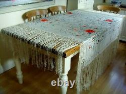 Antique / Vintege Chinois Grande Main Brodée Double Faced Silk Piano Châle