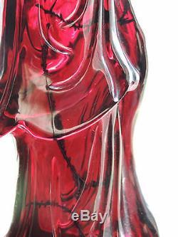 Bakélite Kwan Yin Phoenix De Grande Taille En Cerisier Et Ambre De Chine