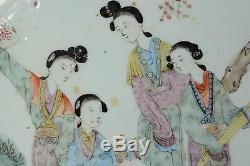Bassin De Bol En Porcelaine Chinoise Belles Femmes Dans Le Jardin Qing 42cm Grand Antique