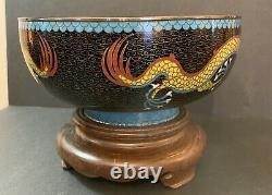 Beau Bol Chinois Antique De Cloisonne 5 Orteil / Griffe Imperial Dragon Grand