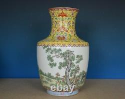 Beau Grand Vase Chinois Antique De Porcelaine De Rose De Famille Marqué Qianlong B802