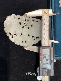 Beaux Chinois Sculpté Jade Largebutterfly Pendentif