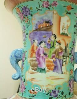 Beaux Grand Miroir Paire Chinois Famille Vases En Porcelaine Rose 19