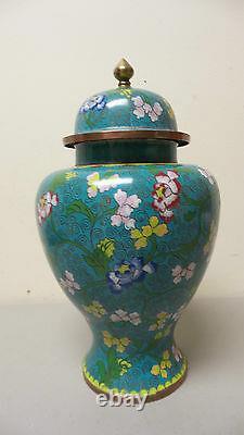 Belle Grand Antique Chinois Cloisonné 11.5 Pot Lidded / Vase