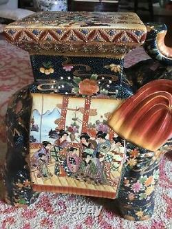 Belle Grande Paire Vintage D'éléphant Chinois Stands Must Se