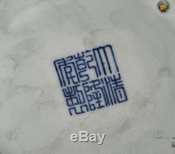 Belle Paire De Grand Bleu Chinois Dragon Blanc 6 Side Porcelaine Pot De Fleurs