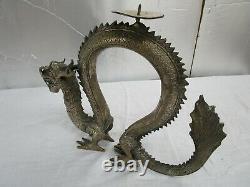 Belle Vintage Grande Laiton / Bronze Statue De Dragon Chinois Bougeoir