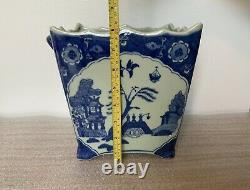 Bonsai Pot Grand Pot, Oriental Bleu Et Blanc Modèle De Saule Céramique