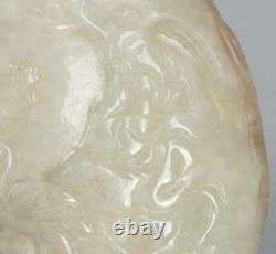 Bouteille De Snuff Jade Blanc Fine Grande Chinoise, 3 Haut