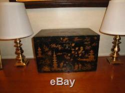 Box Antique Chinoiserie Large C1840 Laque Noire Japanisée Box 13x8x9