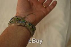 Bracelet Ancien En Émail Vermeil Sculpté En Filigrane Sterling Avec De Grands Chinois