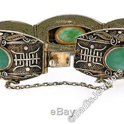 Bracelet Fantaisie En Filigrane De Jade Ovale Ancien En Argent Sterling Doré À La Chinoise