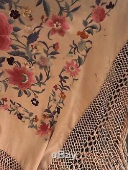 Brodé Antique Chinois Soie Main Canton Piano Châle Broderie Fleurs Grand