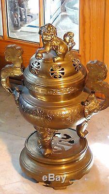 Brûleur Encens Bronze Antique 19c, Grand Laiton, Bronze Sur Support, Foo-dog Sur Un Couvercle