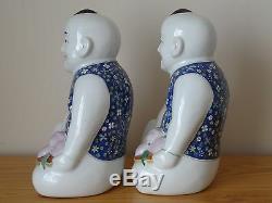 C. 20 Antique Vintage Rose Famille Chinoise Grand Garçon Porcelaine Figure Paire