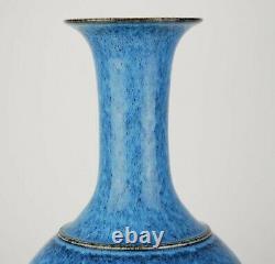 Chine Grand Cobalt Flambé Glaze Long Col Vase Kangxi Mark