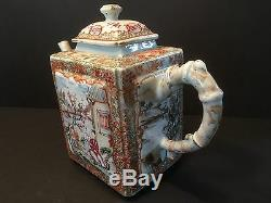 Chinese Antique Grande Palette Mandarin Teapot, Période Qianlong, Ca 1770