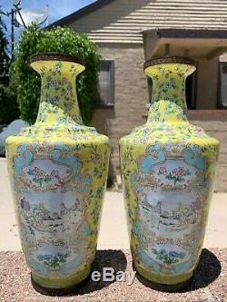 Chinese Grand Antique Émail Cloisonné Vase Avec Des Fleurs Paire