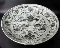 Chinese Rare Yuan À Ming Dynasty Bleu Blanc Grande Plaque De Chargeur Lourd 49 CM