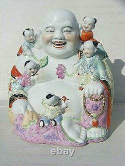 Chinese Rugissant Bouddha Porcelaine Grand Sceau Marque 12 Pouces En Hauteur