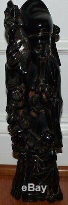 Chinois Antique Cerise Ambre Bakélite Dieu Immortel Statue Figurine Grand 14po