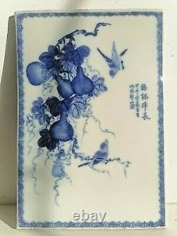 Chinois Antique Fine Large Blue And White Porcelaine Plaque Panneau Signé Shuzan