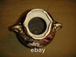 Chinois Antique Japonais Moriage Satsuma Vase Fleurs Peintes Poignées Grandes