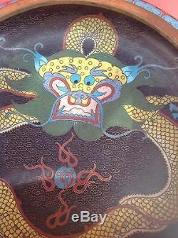 Chinois Dragon Cloisonne Grand Bol Dans La Belle Ville Du 19ème Siècle État. Antique