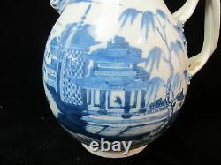 Chinois Export Porcelaine Grande Antique Canton Blue White Double Handle Pitcher