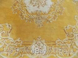 Chinois, Grand, Laine, Floral, Tapis, 9 'x12', Taille De La Pièce, Grand Tapis, Vintage, Jaune