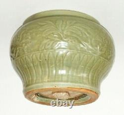 Chinois Ming Longquan Couvert Celadon Glaçure Molded Leaf Motif Grand Bowl (zag)